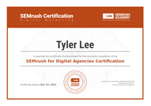 SEMrush Agency Certification for Tyler Lee of Lee Digital